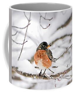 American Robin In The Snow Coffee Mug