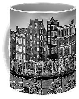 Amsterdam Singel Canal With Flower Market - Monochrome Coffee Mug