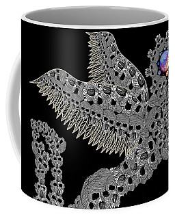 Coffee Mug featuring the drawing Angel Of Death Light With Worlds To Destroy Save by Joan Stratton