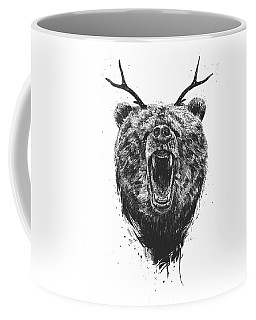 Angry Bear With Antlers Coffee Mug