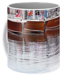 Coffee Mug featuring the photograph Antique Classic Wooden Boats In A Row Panorama 81112p by Rick Veldman