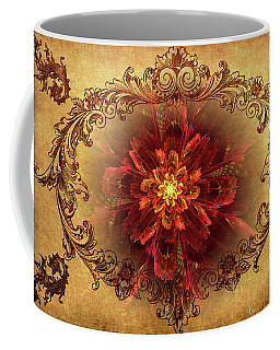Antique Foral Filigree In Crimson And Gold Coffee Mug