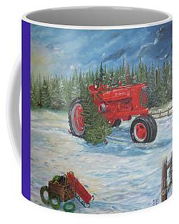 Antique Tractor At The Christmas Tree Farm Coffee Mug