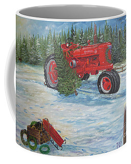 Antique Tractor At The Christmas Tree Farm Coffee Mug