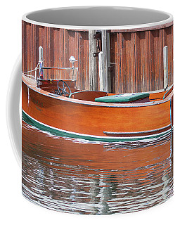 Coffee Mug featuring the photograph Antique Wooden Boat By Dock 1302 by Rick Veldman