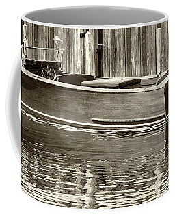 Coffee Mug featuring the photograph Antique Wooden Boat By Dock Sepia Tone 1302tn by Rick Veldman