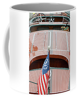 Coffee Mug featuring the photograph Antique Wooden Boat With Flag 1303 by Rick Veldman