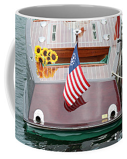 Coffee Mug featuring the photograph Antique Wooden Boat With Flag And Flowers 1304 by Rick Veldman