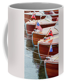 Coffee Mug featuring the photograph Antique Wooden Boats In A Row Portrait 1301 by Rick Veldman