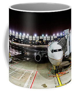 Coffee Mug featuring the photograph Arrivals And Departure On Airplane At The Airport by Alex Grichenko