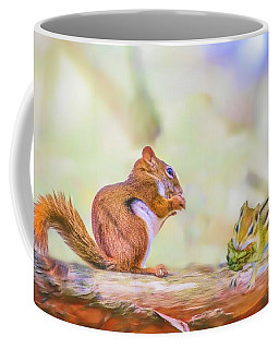 Art Composite Photograph Of A Chipmunk And Red Squirrel Sharing  Coffee Mug