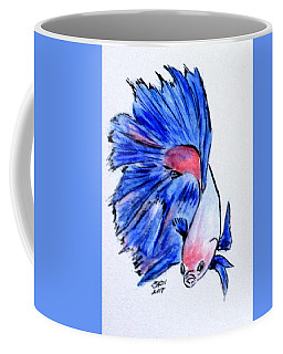 Coffee Mug featuring the painting Art Doodle No.33 Betta Fish by Clyde J Kell