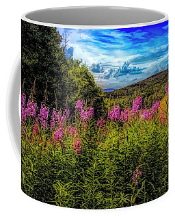 Art Photo Of Vermont Rolling Hills With Pink Flowers In The Fore Coffee Mug