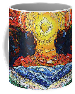 Bison Running Print Of Olena Art Wild The Storm Oil Painting With Palette Knife  Coffee Mug