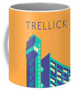 Trellick Tower London Brutalist Architecture - Text Apricot Coffee Mug