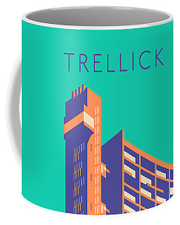 Trellick Tower London Brutalist Architecture - Text Turquoise Coffee Mug