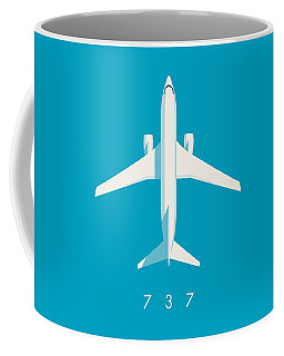 737 Passenger Jet Airliner Aircraft - Cyan Coffee Mug