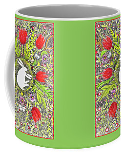 Bunny Nest With Red Flowers And White Butterflies Coffee Mug