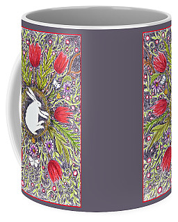 Bunny Nest With Red Flowers Variation Coffee Mug
