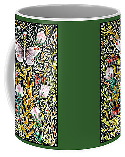Butterfly Tapestry Design In Mustard, Red And Green Coffee Mug