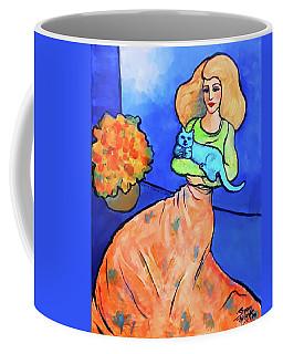 Lady With Blue Cat Coffee Mug