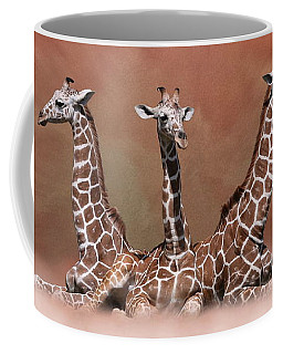 Coffee Mug featuring the digital art The Watchers - Three Giraffes by Debi Dalio