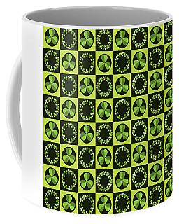 Green Shamrocks Circles And Squares Coffee Mug
