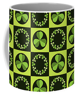 Coffee Mug featuring the digital art Green Shamrocks Circles And Squares by MM Anderson