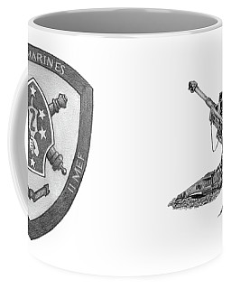 Coffee Mug featuring the drawing 10th Marines 777 by Betsy Hackett