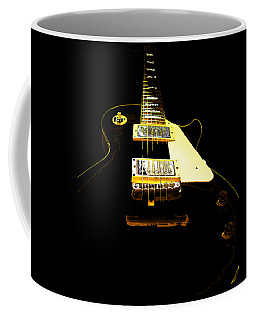 Coffee Mug featuring the photograph Black Guitar With Gold Accents by Guitar Wacky