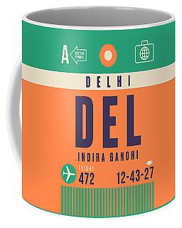 Retro Airline Luggage Tag - Del Delhi Airport Coffee Mug