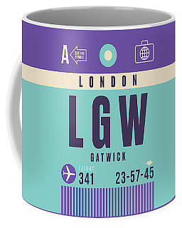 Retro Airline Luggage Tag - Lgw London Gatwick Airport Coffee Mug