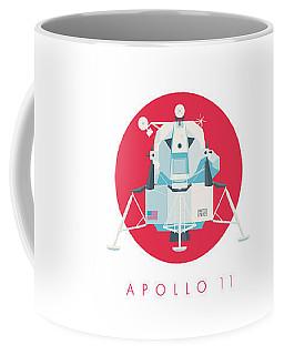 Apollo Lunar Module Lander Minimal - Text Crimson Coffee Mug
