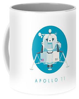Apollo Lunar Module Lander Minimal - Text Cyan Coffee Mug