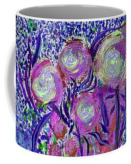 Four Pink Flowers In Blue Coffee Mug