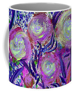 Four Pink Flowers In Blue Coffee Mug