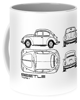 The Classic Beetle Blueprint Coffee Mug