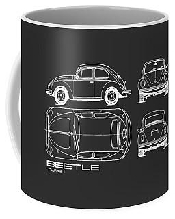 The Classic Beetle Blueprint Black Coffee Mug