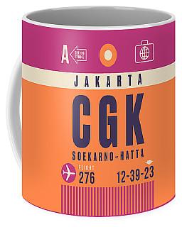 Retro Airline Luggage Tag - Cgk Jakarta Indonesia Coffee Mug
