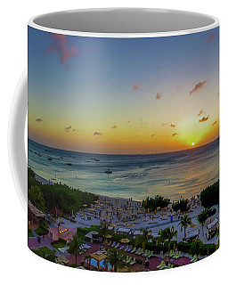 Coffee Mug featuring the photograph Aruban Sunset Panoramic by Scott McGuire