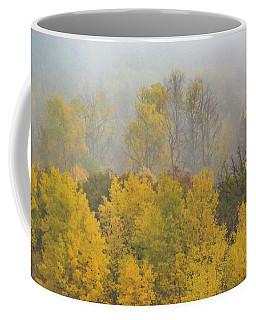 Coffee Mug featuring the photograph Aspen Trees In Fog by John De Bord