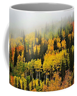 Aspens In Fog Coffee Mug
