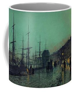 Atkinson Grimshaw -leeds, 1836 -1893-. Shipping On The Clyde -1881-. Oil On Cardboard. 30.5 X 51 Cm. Coffee Mug