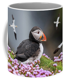 Atlantic Puffin And Soaring Gannets Coffee Mug