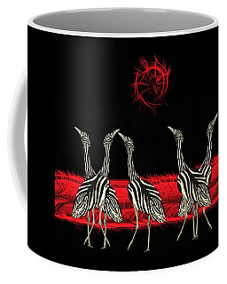 Coffee Mug featuring the mixed media Zebra Australian Bustards Red Sun by Joan Stratton