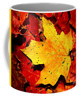 Autumn Beige Yellow Leaf On Red Leaves Coffee Mug