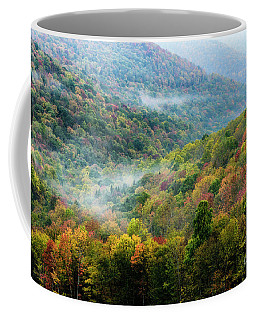 Autumn Hillsides With Mist Coffee Mug