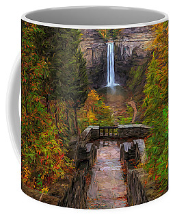 Coffee Mug featuring the painting Autumn Morning At Taughannock Falls by Dan Sproul