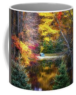 Autumn Pond With Rowboat Coffee Mug