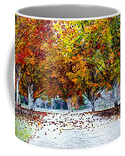 Coffee Mug featuring the digital art Autumn Trees by Pennie McCracken